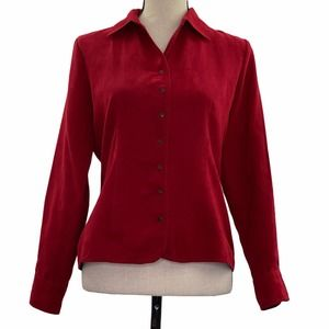 CB Petite Red Button Down Shirt Size PS